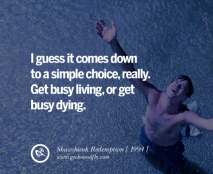 Shawshank Redemption Quote Get busy living or get busy dying.